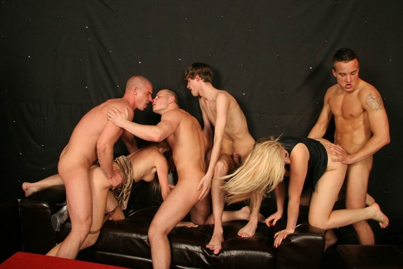 bisexual firends going crazy at a birthday party